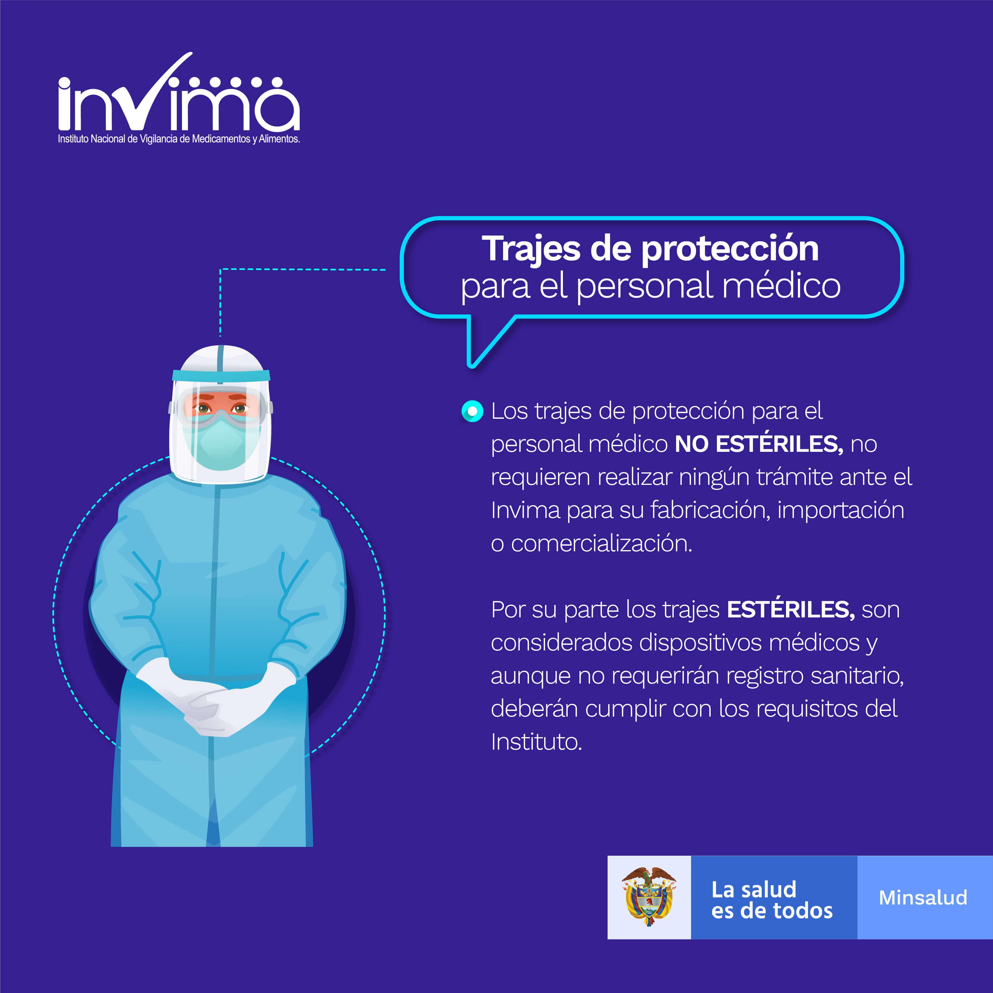 Infografía Trajes de protección para el personal médico