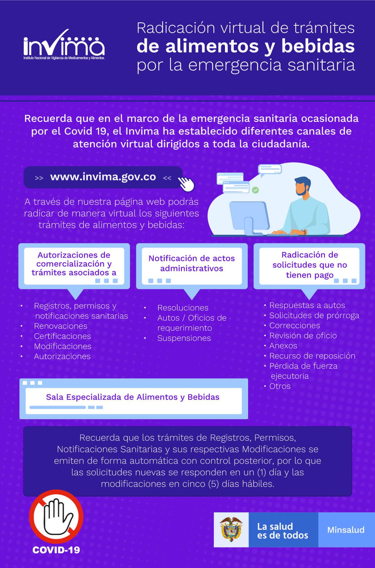 Radicación virtual de trámites de alimentos y bebidas por la emergencia sanitaria